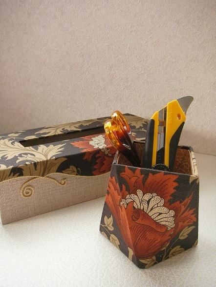 薄型ティッシュボックス&多面体のペン立て